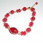 Bracelet en Verre de Murano rouge et gorgone avec jade coloré