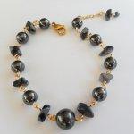 Bracelet en pierres d'hématite et obsidienne