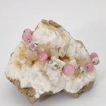 Bracelet en perle de verre rose fleurie