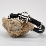 Bracelet homme cuir noir multi-rangs avec ancre en métal argent