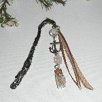 Marque pages dauphin en métal argent avec cristal, encre et rubans