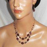 Parure avec Collier en Verre de Murano et cristal violet sur chaine en acier or