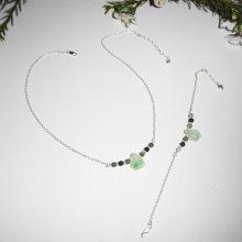 Parure Collier et bracelet original en argent 925 avec tortue et perles en jade sur chaine