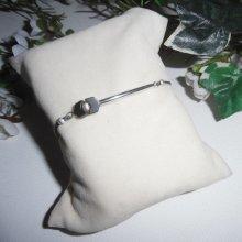 Bracelet pierres d'hématite et perles argent 925 sur cordon réglable