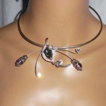 Collier original en métal soudé avec cristal de Swarovski et bohème gris