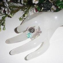 Bague originale en argent 925 avec rose papillon et fleur en cristal de Swarovski