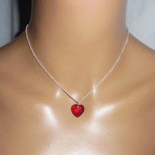 Pendentif coeur rouge en cristal de Swarovski sur  chaine argent 925