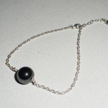 Bracelet en argent 925 avec perle d'hématite sur chaine argent
