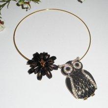 Collier original en métal soudé avec grande chouette noir,cristal et fleur