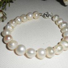 Bracelet en perles de culture ivoire et argent 925