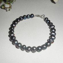 Bracelet en perles de culture grises et argent 925