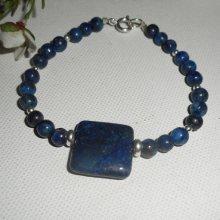 Bracelet en pierres de lapis lazzuli et argent 925