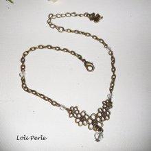 Bracelet/chaine de cheville avec connecteur fleur et cristal