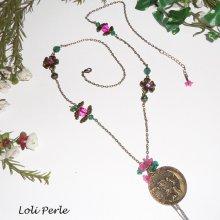 Sautoir fée avec perles cristal rose et vert sur chaine bronze