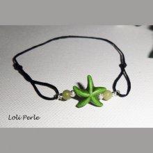 Bracelet étoile de mer verte en pierre et argent 925 sur cordon noir