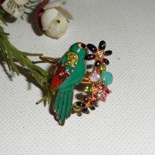 bague perroquet en émail  vert avec fleurs