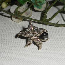 Bague étoile de mer avec pierre d'hématite