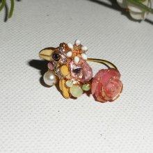 bague perroquet multicolore avec cristaux