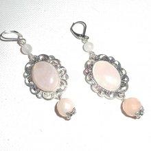 Boucles d'oreilles avec pierres de quartz rose