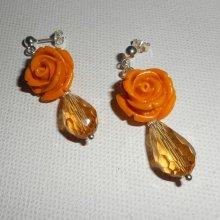 Boucles d'oreilles argent 925 avec rose moutarde et gouttes en cristal de bohème