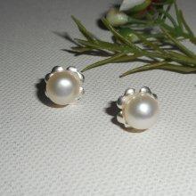 Boucles d'oreilles argent 925 avec perle de culture blanche
