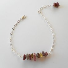 Bracelet chips en pierres de tourmaline sur chaine argent 925