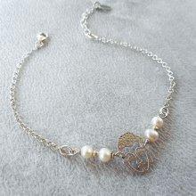 Bracelet en perles de culture avec bouddha en argent 925