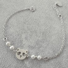 Bracelet en perles de culture avec panda en argent 925
