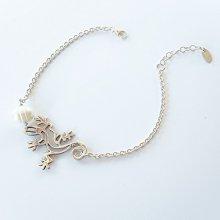 Bracelet perle de culture et geiko sur chaine en argent 925