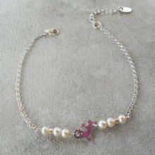 Bracelet perle de culture et tarente sur chaine en argent 925
