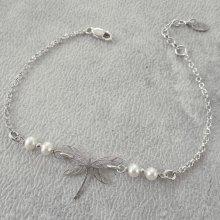 Bracelet libellule et perles de culture sur chaine en argent 925