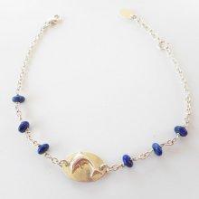 Bracelet médaille dauphin avec pierres bleues sur chaine argent 925