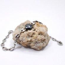 Bracelet pierre plate en hématite sur chaine grain de café en acier