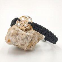 Bracelet corde tissée avec  palet de noeud en nacre