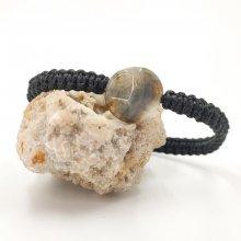 Bracelet corde tissée avec pierre en agate bleue