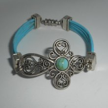Bracelet cuir bleu multi-rangs aveccroix en filigrane