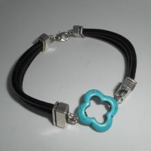 Bracelet cuir multi-rangs avec pierre de turquenite
