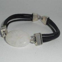 Bracelet homme cuir multi-rangs avec pierre en cristal de roche blanc