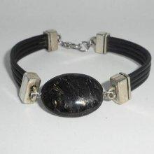 Bracelet homme cuir multi-rangs avec pierre en astrophilite