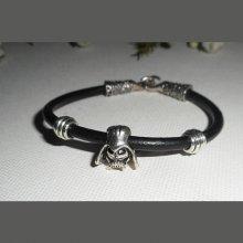 Bracelet en cuir noir avec perle Dark Vador en métal argent