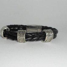 Bracelet homme double rangs de simili cuir noir avec gros passant en métal argent