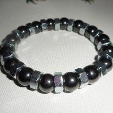 Bracelet en pierres d'hématite avec boulons en acier inoxydable