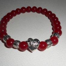 Bracelet en pierres de jade rouge et coeur en argent
