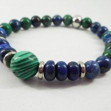 Bracelet en pierres de malachite et Lapis Lazuli avec perles en acier inoxydable