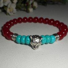 Bracelet pierre turquoise et cornaline avec tête de panthère