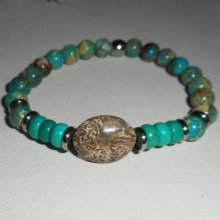 Bracelet en pierres de jaspe et turquoise avec perles en acier inoxydable