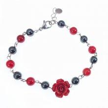 Bracelet en pierres d'hématite avec rose rouge