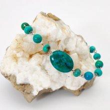 Bracelet en pierres de chrysocolle vert turquoise