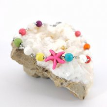 Bracelet en pierres multicolores avec étoile de mer rose