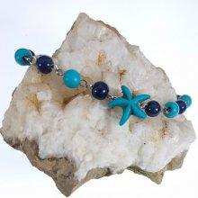 Bracelet en pierres de Lapis et Turquoise avec étoile de mer bleue